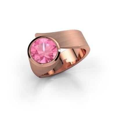 Ring Nakia 375 rosé goud roze saffier 8 mm