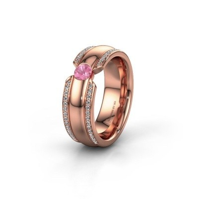 Wedding ring WHR0575L 375 rose gold pink sapphire ±7x2 mm