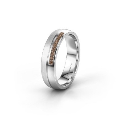 Wedding ring WH0209L25APM 950 platinum brown diamond ±0.20x0.07 in