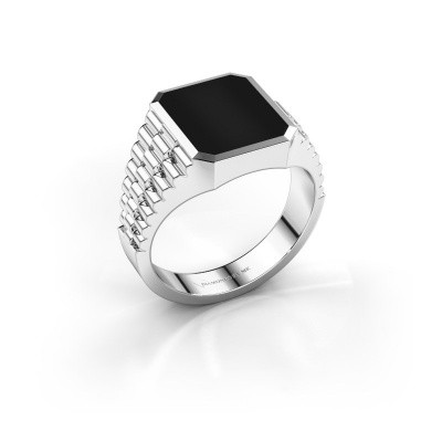 Photo de Bague style Rolex Brent 2 585 or blanc onyx 12x10 mm
