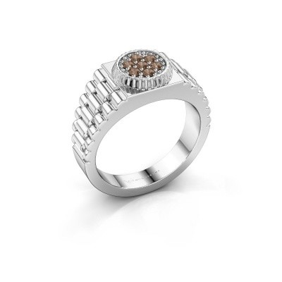 Foto van Rolex stijl ring Nout 585 witgoud bruine diamant 0.21 crt