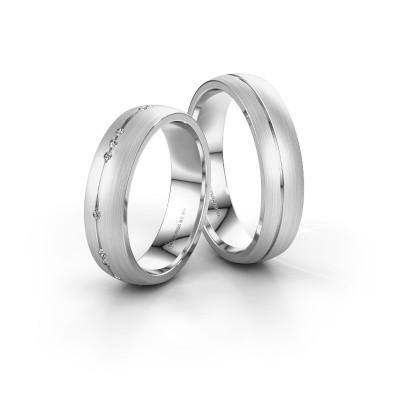 Foto van Huwelijksringen set WH0166LM25AM ±5x1.7 mm 14 Carat witgoud diamant 0.008 crt