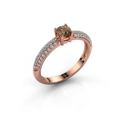 Foto van Ring Marjan 375 rosé goud bruine diamant 0.662 crt