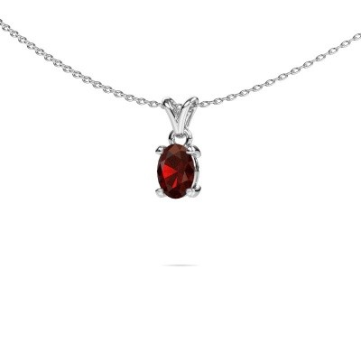 Necklace Lucy 1 585 white gold garnet 7x5 mm