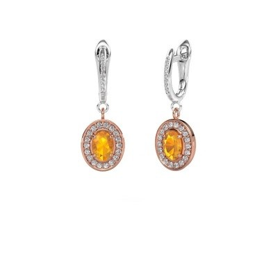 Picture of Drop earrings Layne 2 585 rose gold citrin 7x5 mm