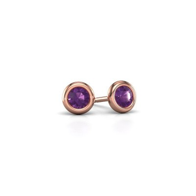 Picture of Stud earrings Lieke RND 375 rose gold amethyst 4 mm