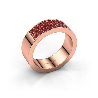 Ring Lindsey 5 585 rosé goud robijn 1.7 mm