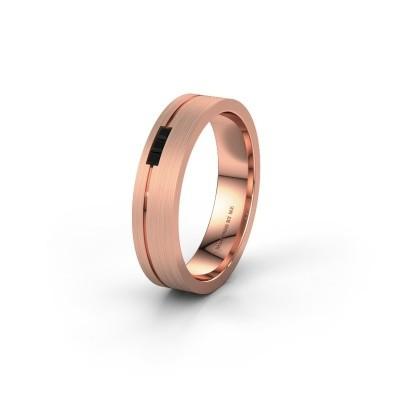 Trouwring WH0158L14X 375 rosé goud zwarte diamant ±4,5x1.4 mm