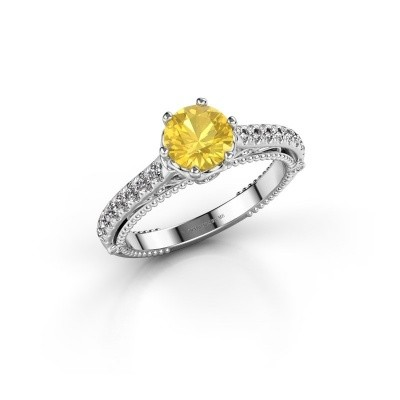 Picture of Engagement ring Venita 925 silver yellow sapphire 6.5 mm