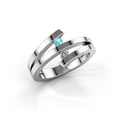 Foto van Ring Synthia 585 witgoud blauw topaas 2.5 mm