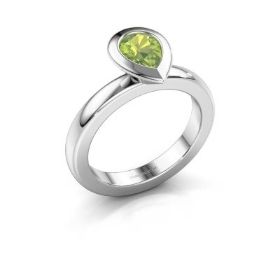 Stapelring Trudy Pear 925 zilver peridoot 7x5 mm