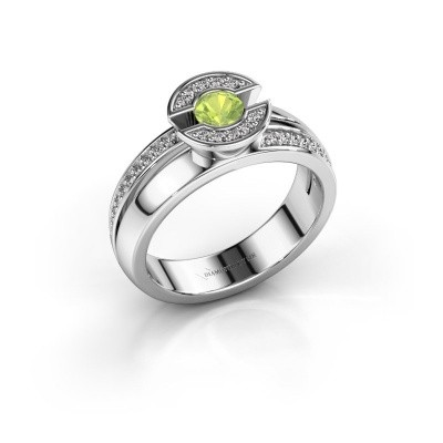 Picture of Ring Jeanet 2 950 platinum peridot 4 mm