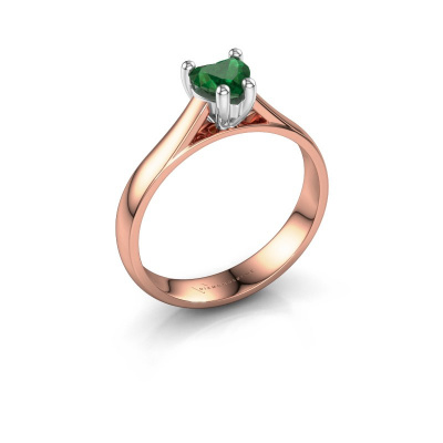 Engagement ring Sam Heart 585 rose gold emerald 5 mm