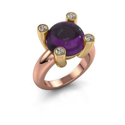 Ring Janice RND 585 rosé goud amethist 12 mm