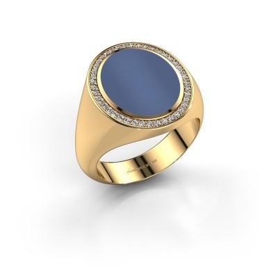 Zegelring Adam 4 375 goud blauw lagensteen 15x12 mm