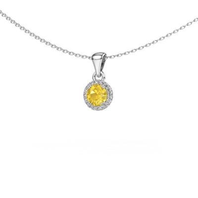 Hanger Seline rnd 925 zilver gele saffier 4.7 mm