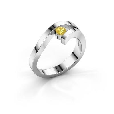 Ring Evalyn 1 585 witgoud gele saffier 3.7 mm