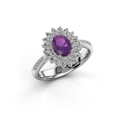Engagement ring Alina 2 925 silver amethyst 7x5 mm