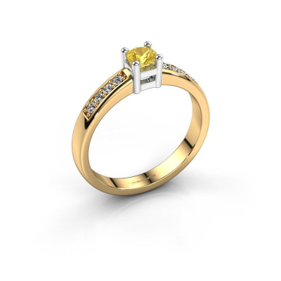 Engagement ring Eline 2 585 gold yellow sapphire 3.7 mm