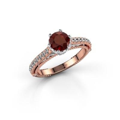 Foto van Verlovingsring Venita 585 rosé goud granaat 6.5 mm