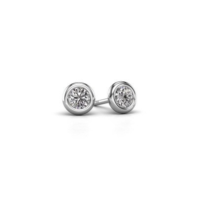 Photo de Clous d'oreilles Lieke RND 585 or blanc diamant 0.50 crt