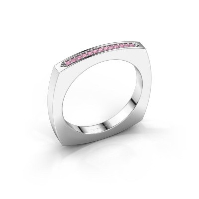 Stackable ring Ashley 925 silver pink sapphire 1 mm