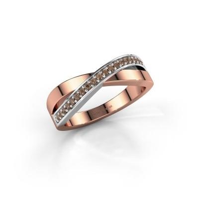Foto van Ring Kaley 585 rosé goud bruine diamant 0.143 crt