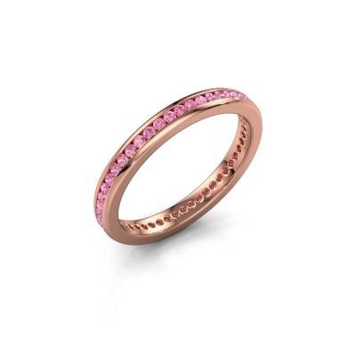 Aanschuifring Lura 1 375 rosé goud roze saffier 1.3 mm