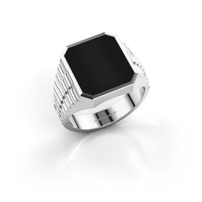 Foto van Rolex stijl ring Brent 3 585 witgoud onyx 14x12 mm