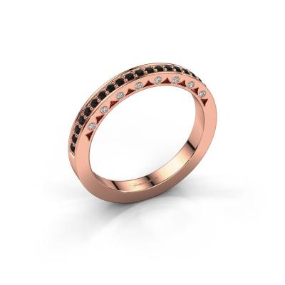 Ring Yasmine 585 rosé goud zwarte diamant 0.278 crt