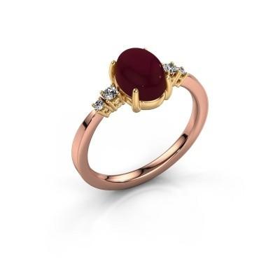 Ring Jelke 585 rosé goud granaat 8x6 mm