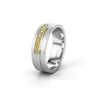 Trouwring WH0312L16AM 925 zilver gele saffier ±6x1.7 mm