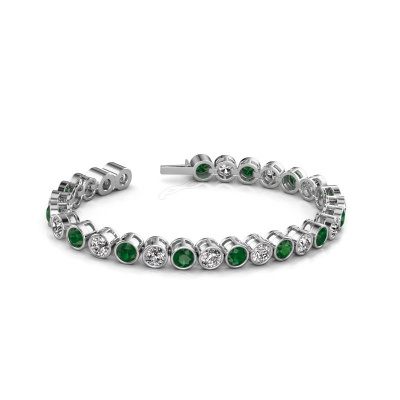 Foto van Tennisarmband Allegra 5 mm 585 witgoud smaragd 5 mm