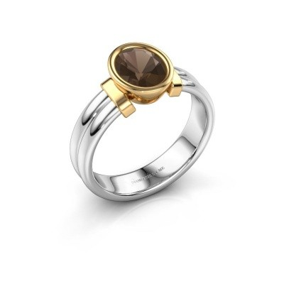 Ring Gerda 585 white gold smokey quartz 8x6 mm