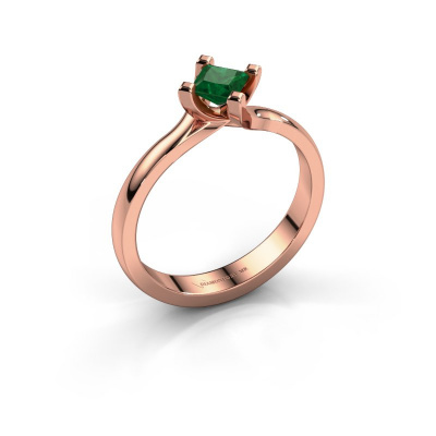 Engagement ring Dewi Square 585 rose gold emerald 4 mm