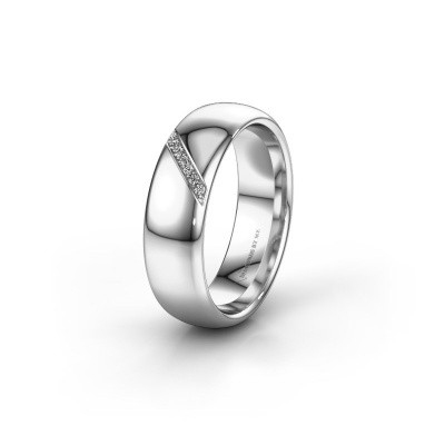Trouwring WH0164L36B 375 witgoud lab-grown diamant ±6x2 mm