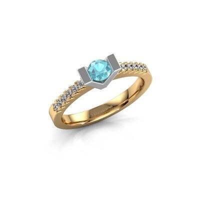 Verlovingsring Sherley 2 585 goud blauw topaas 4 mm