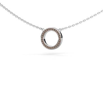 Foto van Hanger Round 1 375 witgoud bruine diamant 0.075 crt