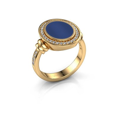 Zegelring Servie 2 585 goud lapis lazuli 12x10 mm