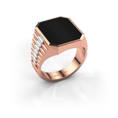 Rolex stijl ring Brent 4 585 rosé goud onyx 16x13 mm