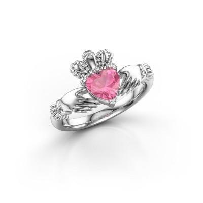 Foto van Ring Claddagh 2 925 zilver roze saffier 6 mm