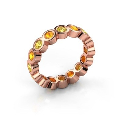 Stackable ring Edwina 3 375 rose gold yellow sapphire 3 mm