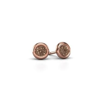 Foto van Oorstekers Lieke RND 375 rosé goud bruine diamant 0.50 crt