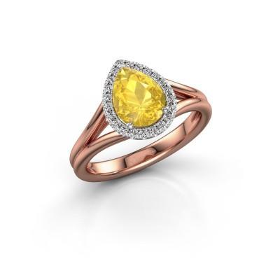 Foto van Verlovingsring Elenore 585 rosé goud gele saffier 8x6 mm