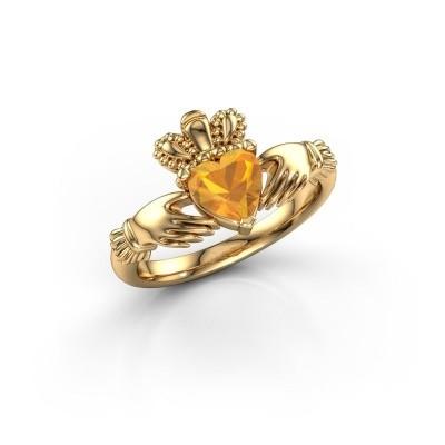 Foto van Ring Claddagh 2 585 goud citrien 6 mm