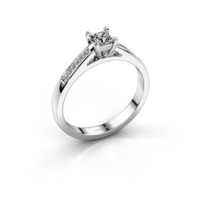 Engagement ring Nynke SQR 950 platinum diamond 0.23 crt