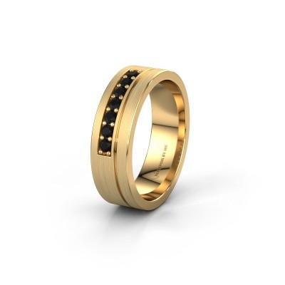 Trouwring WH0312L16AM 585 goud zwarte diamant ±6x1.7 mm
