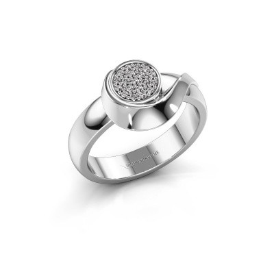 Ring Kimber 585 witgoud zirkonia 1 mm
