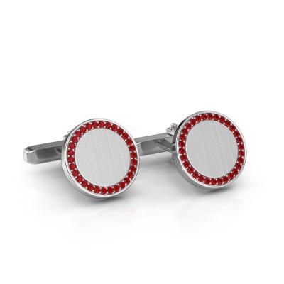 Manchetknopen Sergei 925 zilver robijn 1.2 mm