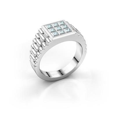 Foto van Rolex stijl ring Chavez 925 zilver aquamarijn 2 mm